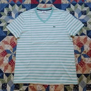 Lacoste Adult Striped V-Neck Tee